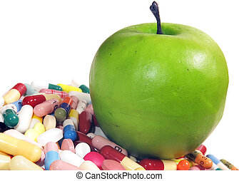 Various pharmaceuticals and an apple