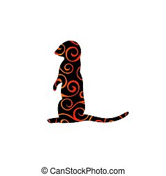 Gopher rodent mammal color silhouette animal. Vector...