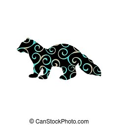 Sable marten mink mammal color silhouette animal. Vector...