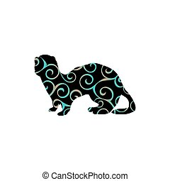 Ferret weasel ermine mammal color silhouette animal. Vector...
