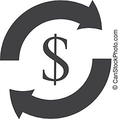 Dollar with arrow icon in black on a white background. Vector illustration