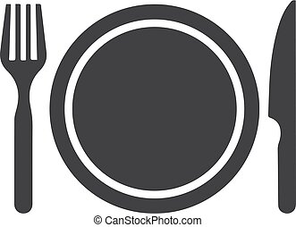 Plate, fork, knife icon in black on a white background. Vector illustration