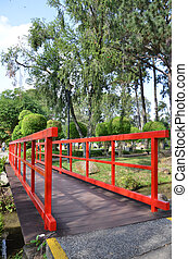 Red bridge in Chinese Garden