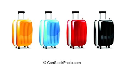 Collection of four color luggage travel case isolated on white back ground vector illustration