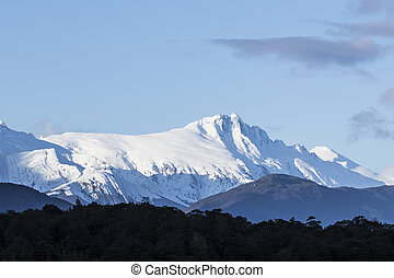 high snowcapped mountain in aspiring national park south...