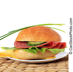 Breakfast roll. All on white background.