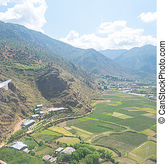 Bhutan landscape - bird eye view of Bhutan landscape