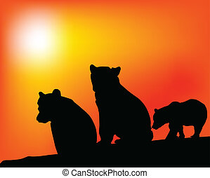 enjoyment of the three bears vector silhouettes