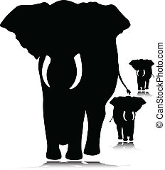 elephant wild vectors silhouettes