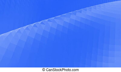 Blue low poly transforming surface as sci-fi landscape. Blue polygonal geometric transforming environment or pulsating background in cartoon low poly popular modern stylish 3D design.