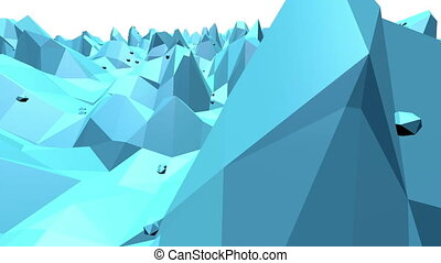 Blue low poly transforming surface as sci-fi background....