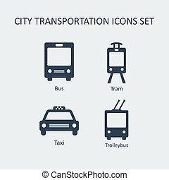 City transportation silhouette vector icons set.