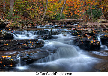 Kitchen Creek Cascades In Autumn - Autumn arrives at Kitchen...