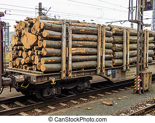 wagon loaded with wood - wagon the railroad loaded with...