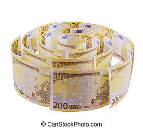 banconote,  200, spirale,  euro
