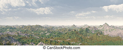 Mountain range - Computer generated 3D illustration with a...