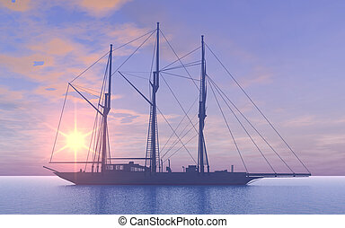 Gaff schooner at sunset - Computer generated 3D illustration...