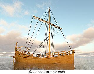 Ancient greek merchant ship - Computer generated 3D...