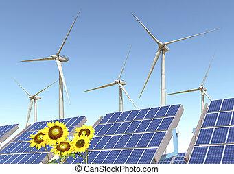 Wind turbines, solar panels and sunflowers