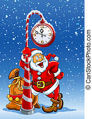 santa claus with sack of gifts under clock - santa claus...