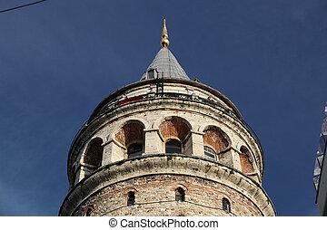 Galata Tower in Beyoglu, Istanbul, Turkey - Galata Tower in...