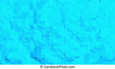 Blue low poly vibrating surface as landscape. Blue polygonal...