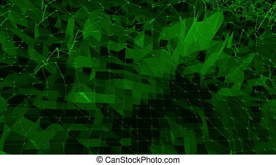 Dark green low poly waving surface as fantastic landscape. Dark green polygonal geometric vibrating environment or pulsating background in cartoon low poly popular modern stylish 3D design..