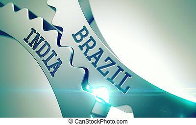 Brazil India - Mechanism of Metallic Gears. 3D. - Brazil...