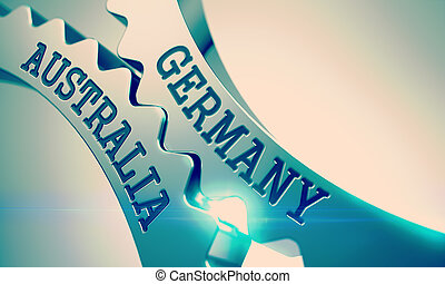 Germany Australia - Mechanism of Metal Cogwheels. 3D. -...