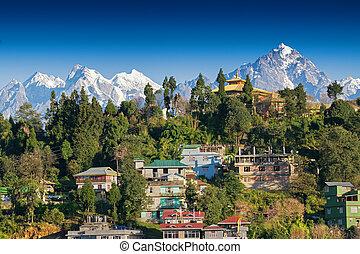 Pandim Mountain range of Himalaya, at Rinchenpong - Sikkim ,...