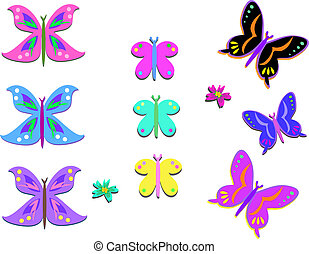 Mix of Colorful Butterflies