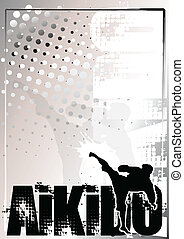 aikido background 2 - aikido silver poster background