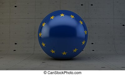 european union flag sphere icon isolated in concrete room 3d...