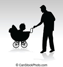father of the baby in the pram walk
