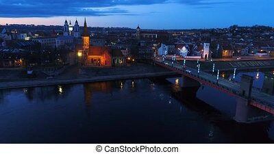 aerial view of old town of city at night - aerial view of...