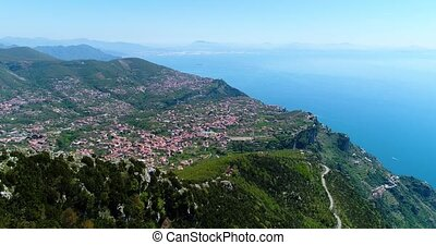flying above mountains by Amalfy coast in Italy