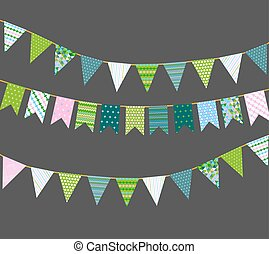 Vector bunting flags with patterns - Different colorful...
