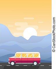 Vector road trip illustration. Modern flat design banner....