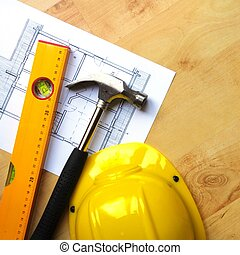 hard hat and tool - hard hat hammer and tools with copyspace...