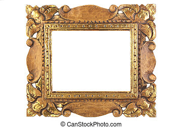 Antique picture frame. - An old antique gold picture frame,...