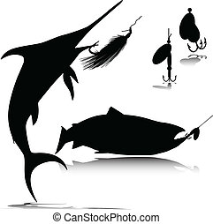 fish and hook vector silhouettes