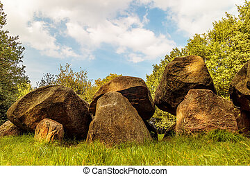 Ancient Dutch megalithic tomb dolmen (hunebed) - Ancient...