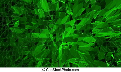 Dark green low poly waving surface as landscape or geometric structure. Dark green polygonal geometric vibrating environment or pulsating background.