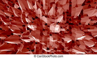 Dark red low poly waving surface as youth background. Dark...