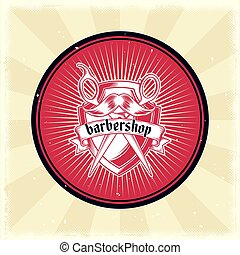 Vector vintage badge, sticker, sign with hairdressing...
