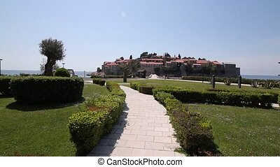The territory of the park Sveti Stefan in front of the...