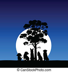five household pets in the moonlight vector black...