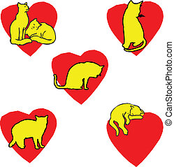 five cat in heart illustration
