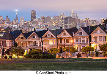 Dusk Over The Painted Ladies - Iconic Victorian Houses and...