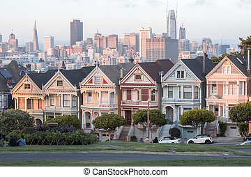 Sunset Over The Painted Ladies - Iconic Victorian Houses and...